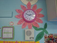 Cute clock for playroom or classroom Classroom Clock, Classroom Themes, Classroom Organization, Future Classroom, Teaching Tools, Teaching Math, Cute Clock, Teaching First Grade, Kids Learning
