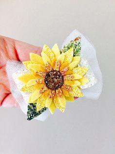 Sunflower hair clip sunflower headband glitter sunflower