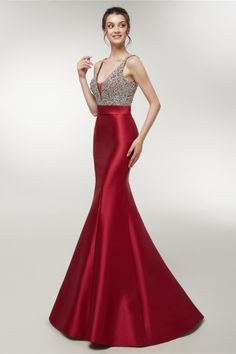 Sexy V Neck Open Back Crystal Beaded Long Red Mermaid Prom Evening Dress Prom Dresses Online, Pageant Dresses, Dresses For Sale, Formal Dresses, Pageant Wear, Winter Evening Dresses, Mermaid Evening Dresses, Red Fashion, Occasion Dresses
