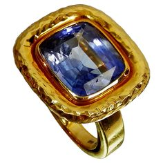 9.62 Carat Ceylon No heat sapphire Gold Ring | From a unique collection of vintage fashion rings at https://www.1stdibs.com/jewelry/rings/fashion-rings/