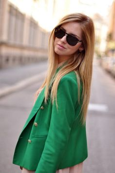 I'm in love with this green, especially when paired with a nude color, like the dress that you can just see poking out.