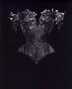 Designer: I LOVE MR. PEARL Photographer: Michael James O'Brien Image reposted from Dark Beauty Magazine. Black embellished overbust Gothic style corset top