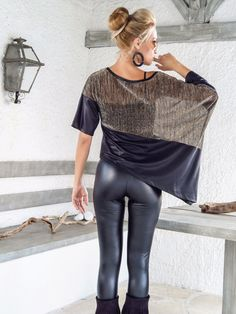 Sequin Asymmetric Top Blouse with Black Leather Details /