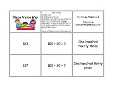 Math Workstation: Place Value War (Free!)