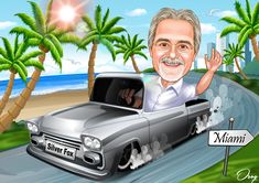 A man is driving a gray truck on the seaside road. Caricature Artist, Caricature Drawing, Korean Entertainment Companies, Black Mercedes Benz, Red Tractor, Female Soldier, Chevrolet Trucks, Photo Online, Rock And Roll