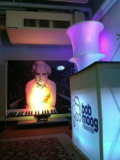 """BMF room backstage at Moogfest. """"Green room"""" for artist interviews and place to sign Minimoog for foundation raffle."""