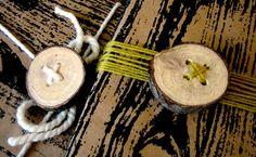 Rústicos botones hechos con troncos