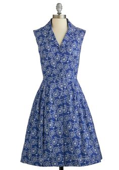 Bake Shop Browsing Dress in Bicycles. Whether it's the local pie shop or a neighborhood bake sale that's luring you in, you're bound to gather some goodies with style in this cobalt shirt dress by Emily and Fin! #blue #modcloth