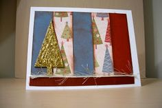 Christmas tree card, glitter, chip board