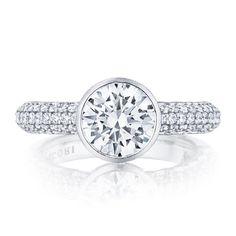 TACORI Vintage 18K - White Gold Diamond Engagement Ring 307-35RD8
