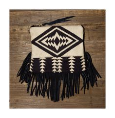 Fringe Clutch, fits an iPad mini, made with genuine Pendleton wool, designed and sold by RAIS CASE.