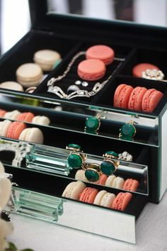 Display treats in a jewelry box along side vintage baubles for a glam look! Viceroy inspired tabletop shoot by Beau & Arrow Events, Sweet Lydia's Macaroons
