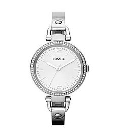 Fossil Georgia Silvertone and Pave Bangle Bracelet Watch #Dillards
