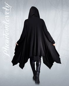 DARKNESS Hooded Cloak Jacket Thumb Hole Sleeves Asymmetrical Hem Hoodie Organic Jersey Regular Tall Plus Sizes
