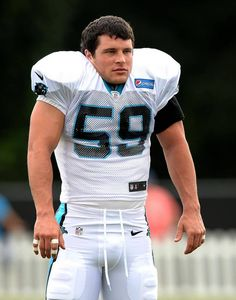 Carolina Panthers linebacker Luke Kuechly jokes around with his teammates during practice at Wofford College in Spartanburg, SC on…