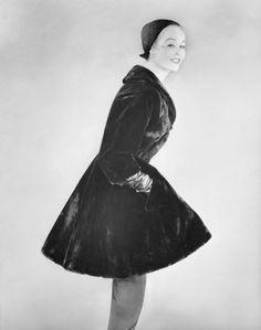 A model in a Charles James sealskin coat, 1953.