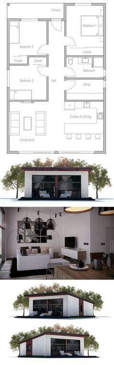 Small & Affordable home plan with three bedrooms. Floorplans