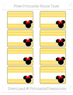 Free Mustard Yellow Horizontal Striped  Minnie Mouse Name Tags