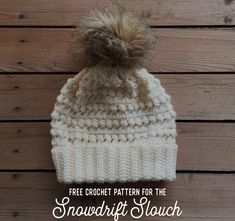 Free Crochet Pattern for the Snowdrift Slouch Puff Stitch Beanie - Megmade with Love