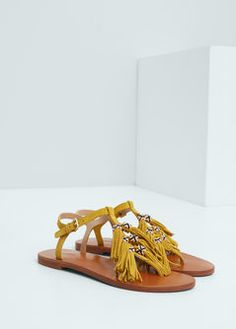 Sandalia piel flecos