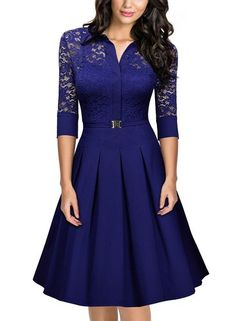 Missmay Women's Vintage 1950s Style 3/4 Sleeve Lace Flare A-line Dress (Medium,Bright Blue) #affiliate https://www.amazon.com/gp/product/B01K4DI8CO/ref=as_li_tl?ie=UTF8&tag=savingchamps-20&camp=1789&creative=9325&linkCode=as2&creativeASIN=B01K4DI8CO&linkId=3354ee845ea21c0600d8424eafdc2b6a