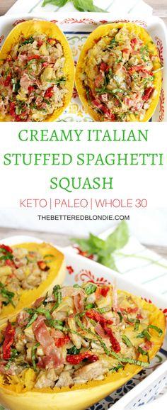 Creamy Italian Stuffed Spaghetti Squash - Keto/Paleo/Whole 30 - The Bettered Blondie #paleo #keto #whole30 #glutenfree
