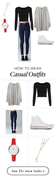 """""""Casual day"""" by montserrat-120101 on Polyvore featuring Forever 21, H&M, FOSSIL and Converse"""