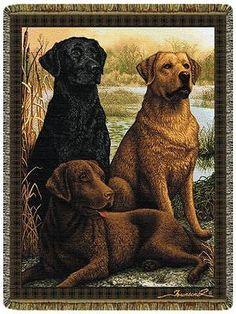 48x68 LABRADOR Lab Dog Black Chocolate Yellow Tapestry Blanket Afghan Throw