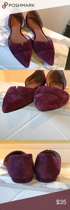 "Vince Camuto Halia D'Orsay Flats ""Posh, modern lines perfect a sleekly shaped d'Orsay flat"" beautiful merlot color suede upper - runs a little small so I've listed as an 8.  In good used condition see photos for small spot on left shoe near sole not noticeable when wearing Vince Camuto Shoes Flats & Loafers"