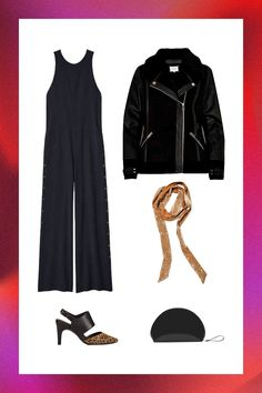 5 Going-Out Outfits That Require Minimal Effort #refinery29  http://www.refinery29.com/aerosoles-versatile-holiday-party-outfits#slide-5  A wide-legged jumpsuit with a biker jacket thrown over your shoulders equals a cool alternative ensemble for just about anything. To keep your wild child aesthetic on track, add two-tone, leopard-print slingbacks and a skinny scarf to seal the going-out deal....