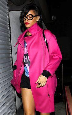 Rihanna's Recording Studio Nina Ricci Hot Pink Zip Front Coat