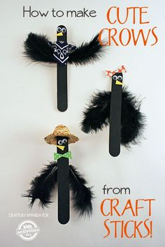So cute for halloween! How to Make Craft Stick Crows
