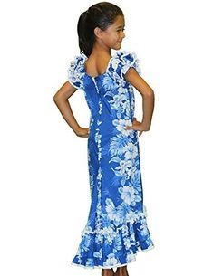 089ed6dae1 Hawaiian Aloha Fashions Royal Blue and White Hibiscus Hawaiian Muumuu  Dresses for Girls Made in Hawaii