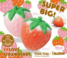 cute slow rising, soft sponge squishies from Japan, I Love Strawberry, Pink Strawberry, Jumbo Ibloom Squishies, Silly Squishies, Slime And Squishy, Strawberry Fruit, Christmas Gifts, Christmas Ornaments, Cute Pink, My Love, Squishy Kawaii