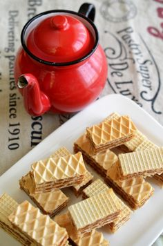 Napolitane umplute cu nuca - Retete culinare by Teo's Kitchen Tasty, Yummy Food, Food Cakes, Cheddar Cheese, Waffles, Cake Recipes, Caramel, Dessert Ideas, Pastries