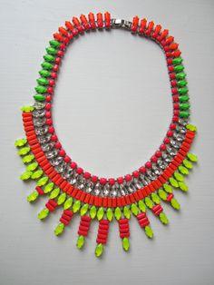 Neon Revolution hand-painted rhinestone necklace by HandsomeAlice via etsy. 300.