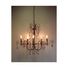 Lustre fer forgé et cristal Lalique 5 bougies - Mon Chalet Design