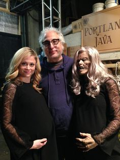Behind the scene photo of Claire Coffee (Adalind Schade), Exective Producer/Director Norberto Barba and Adalind's Stunt Double.