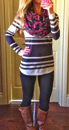 Floral scarf, stripe sweater shirt, leggings and boots for fall