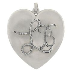"""This baby is HUGE! Perfect if the letters """"LB"""" hold special meaning for you. Personalized Valentine's Day Gifts, Customized Gifts, Georgian Era, Special Meaning, Heart Locket, Diamond Are A Girls Best Friend, Diamond Heart, Valentine Day Gifts, Gift Guide"""