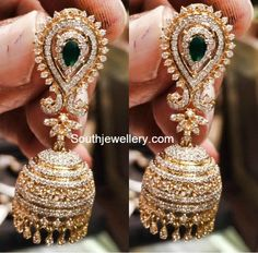 Jewellery Designs - Page 30 of 553 - Latest Indian Jewellery Designs 2015 ~ 22 Carat Gold Jewellery Indian Wedding Jewelry, Bridal Jewelry, Indian Weddings, Indian Jewellery Design, Jewelry Design, Diamond Jhumkas, Diamond Earing, Diamond Earrings Indian, Diamond Studs