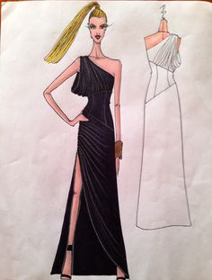 """Fashion sketch of my NIKOLAKI Fall 2014 gown--one shoulder side cowl draped jersey draped gown with leather midriff """"corset"""""""