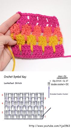 Crochet stitches 324188873167782876 - Larks Foot Stitch Crochet Pattern Source by janosnereginava Stitch Crochet, Crochet Stitches Free, Crochet Symbols, Crochet Motifs, Crochet Diagram, Afghan Crochet Patterns, Crochet Chart, Stitch Patterns, Knitting Patterns