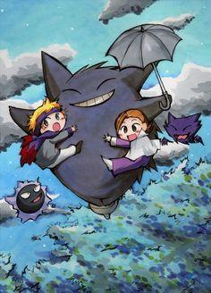 Tonari no Totoro, staring Morty, Eusine, and Gengar! Type Pokemon, Pokemon Fan Art, All Pokemon, Gengar Pokemon, Pokemon Stuff, Pokemon People, Pokemon Crossover, Anime Crossover, Pokemon Fantasma