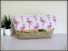 Trousse à maquillage toile de coton caramel motif flamant rose de la boutique…