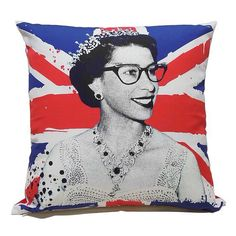 912a6457f625 Queen Elizabeth II wearing cat eye glasses in Union Flag pillow   alivehouse  Young Queen