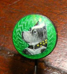 Antique Silver Enameled Staffordshire Terrier Lapel Pin