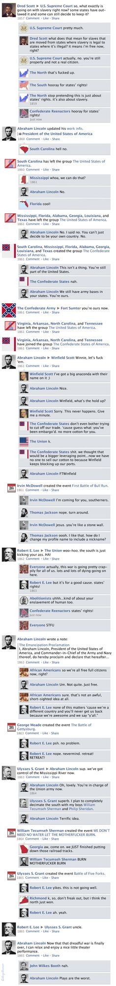 """Facebook Timeline History of the U.S. Civil War """"k, so, don't freak out, but i think the north just won."""":"""