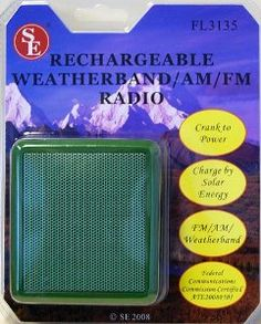 """SE 3inX3inRechargeable Weather Band AM/FM Radio Green by SE. $24.75. 3""""X3"""" Rechargeable Weather Band Am/Fm Radio, Green Color, Crank To Power, Charge By Solar Energy, Size 3 in. X 3 in."""