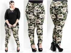 Calça legging floral Plus Size